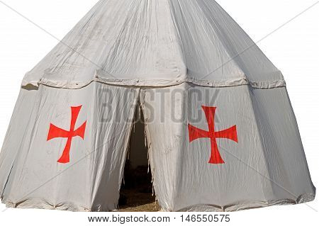 the tent of the crusaders on white background