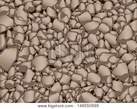 Brown stones granite gravel texture vector illustration.