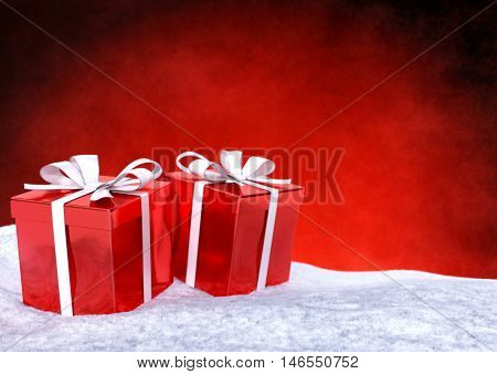 Christmas gifts in snow on red background- 3D render.