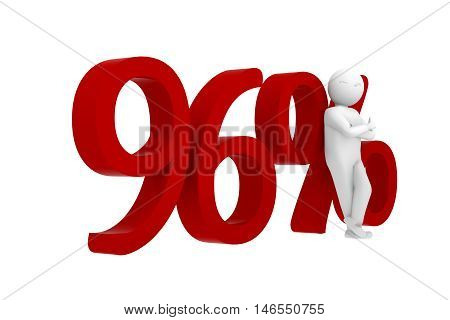 3D Human Leans Against A Red 96%