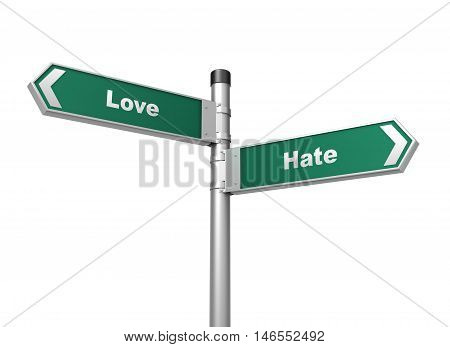 love hate road sign 3d concept illustration on white background