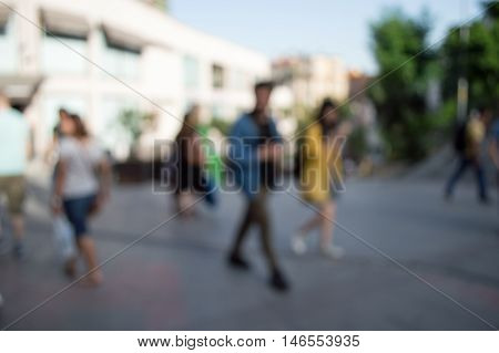 Blurred City And People