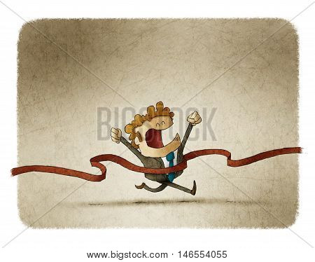 illustration of a businessman who has reached the finish line.