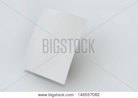 Mock up poster on white background. 3D rendering poster standart format A5 / A4 / A3 / A2 / A1/ A0. Three-dimensional rendering.