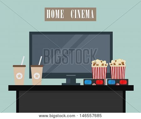 Home cinema. There is home cinema, 3D glasses, popcorn and coffee in the picture. Watch movies online concept. Vector flat illustration
