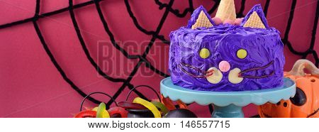 Halloween Purple Cat Cake Banner