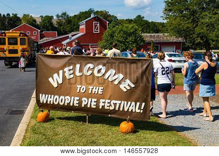Ronks PA - September 10 2016: It's a big Welcome to the Whoopie Pie Festival at Hershey Farms near Strasburg.