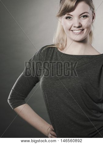 Leisure relax beauty concept. Cheerful girl fooling. Young laughing blond lady showing happiness expressing joy having fun.