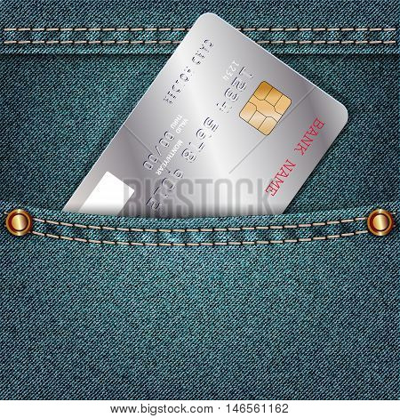 Jeans pocket with a single silver credit card. Vector illustration
