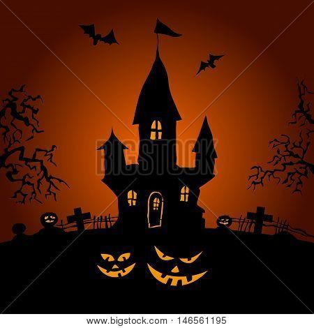 Happy Halloween party on orange background, vector illustration