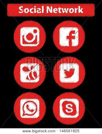 SOCIAL NETWORK DEFAMATION ICONS , ROUND, ILLUSTRATION