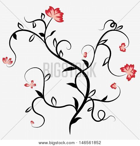 Abstract black silhouette of a plant with red flowers and tendrils. Vector illustration.