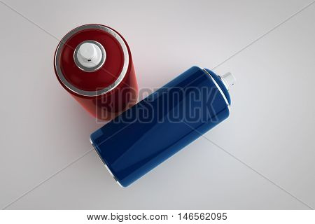 Spray can on light background. 3D rendering cans for your design.
