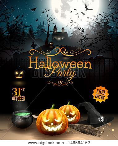 Halloween party flyer with pumpkins hat pot and old broom in front of scary castle