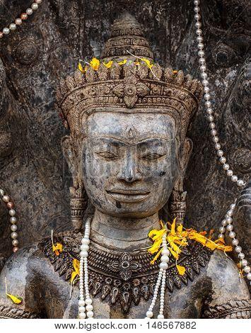 Thai art beautiful Old Buddha in thailand
