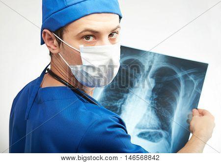 Nurse Man With X-ray Image