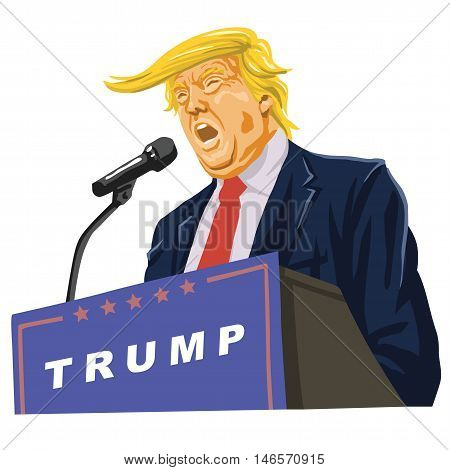 Donald Trump Giving A Speech Vector Caricature