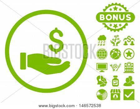 Earnings Hand icon with bonus. Vector illustration style is flat iconic symbols, eco green color, white background.