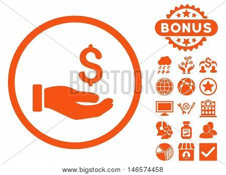 Earnings Hand icon with bonus. Vector illustration style is flat iconic symbols, orange color, white background.