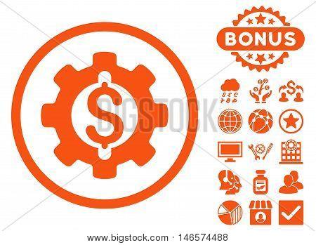 Financial Development Gear icon with bonus. Vector illustration style is flat iconic symbols, orange color, white background.