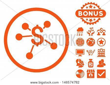 Money Emission icon with bonus. Vector illustration style is flat iconic symbols, orange color, white background.