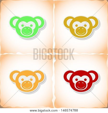 Monkey. Flat sticker with shadow on old paper. Vector illustration