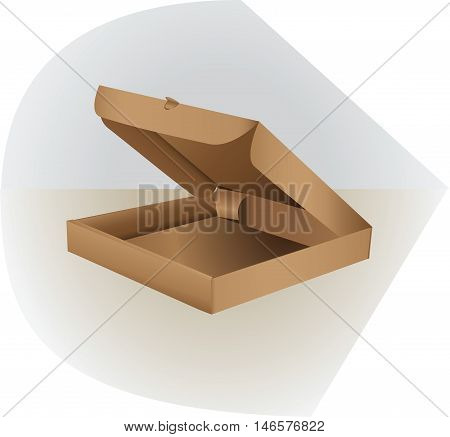 Box for packing made of cardboard. Realistic 3D isometric cardboard box pizza. Open, side and top. Flat style vector illustration, isolated on light background.
