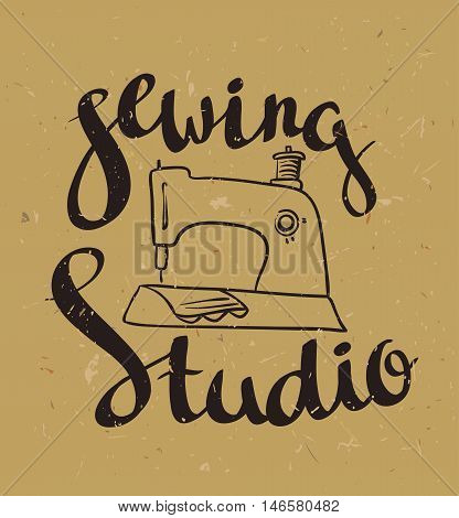Hand drawn typography poster with sewing machine and stylish lettering