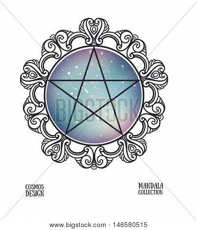 Vector pentagram with space background and mandala frame. Sacral vector illustration.