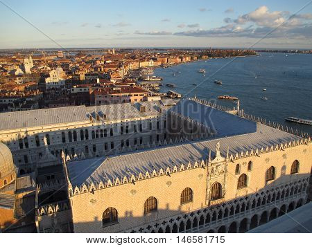 Breathtaking View of Cityscape and the famous Palazzo Ducale in the Evening Sunlight, Venice, Italy