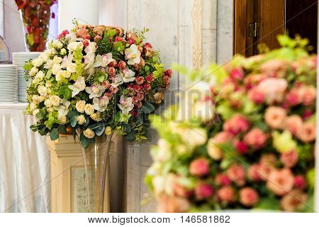 Concept, banquet restaurant with elegant floral composition design floral