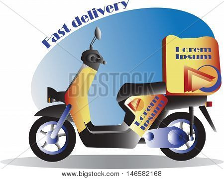 Fast delivery. Scooter, Motorcycle. Service, order. Worldwide Shipping, Fast and Free Transport. Food delivery design, vector illustration.