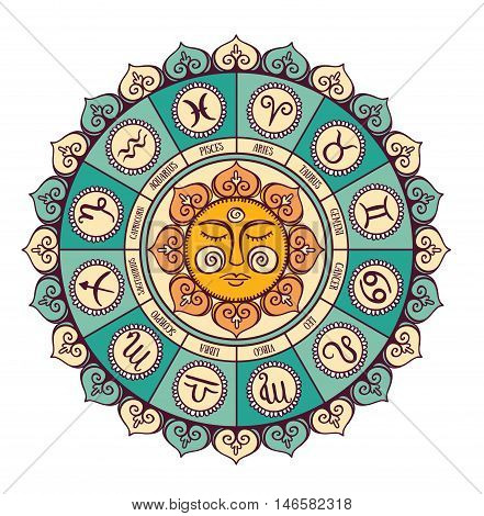 Zodiac circle with horoscope signs.Hand drawn Vector illustration