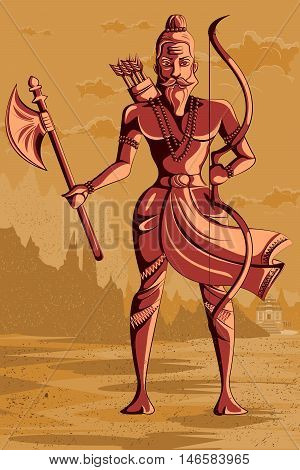 Indian God Parashurama with axe. Vector illustration