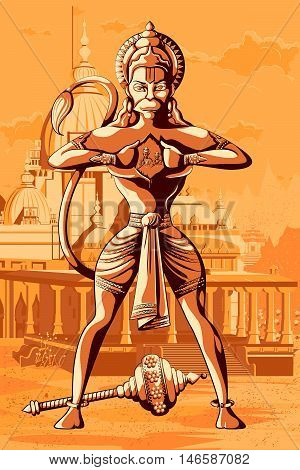Indian God Hanuman showing Rama and Sita in his chest. Vector illustration