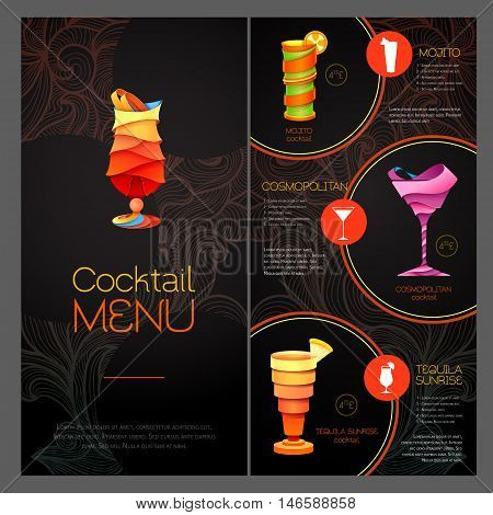 3D Cocktail  Design. Cocktail Menu Design