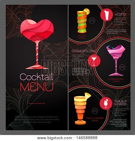 3D Cocktail  Design. Cocktail Menu Design. Happy Valentine`s Day