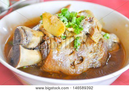 Stewed pork leg with vegetable dish , stewed pork