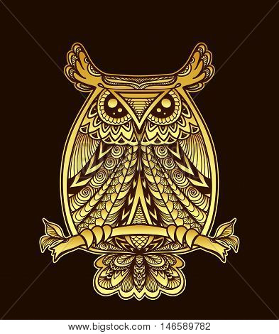 Owl in Zen-doodle or  Zen-tangle decorative style handmade gold on black for Halloween or for wallpaper or for decorate package clothes or for logotype