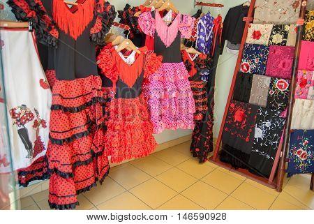 JUNE 18 2011 - BARCELONA SPAIN: The flamenco dress shop at Barcelona