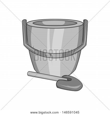 Childrens bucket with shovel icon in black monochrome style isolated on white background. Childrens toy symbol vector illustration