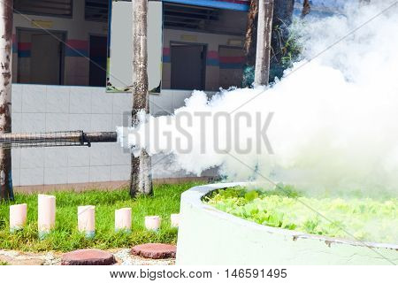 close up smoke from Spray mosquito repellent