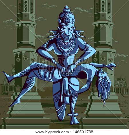 Indian God Narasimha killing Hiranyakashipu. Vector illustration