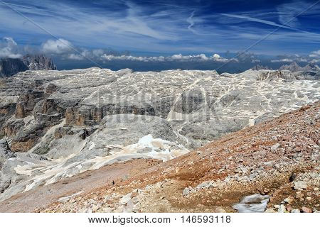 Mesules plateau from Piz Boe Sella group Italian Dolomites
