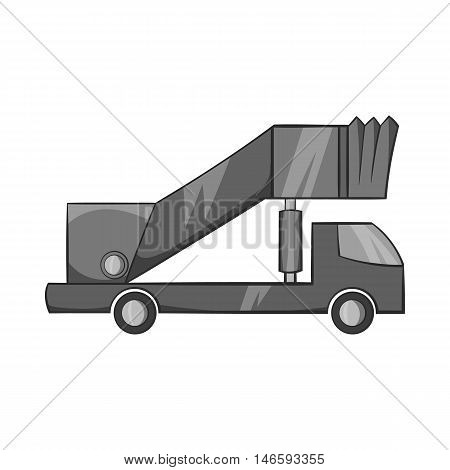 Passenger gangway icon in black monochrome style isolated on white background. Transport symbol vector illustration