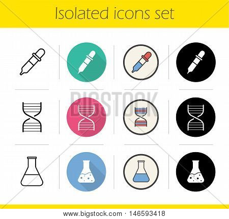 Chemical lab icons set. Flat design, linear, black and color styles. Science research equipment. Medical laboratory flask with liquid, DNA spiral and dropper. Isolated vector illustrations