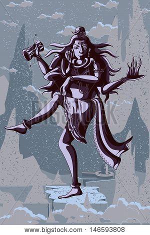 Indian God Shiva dancing in Nataraja pose. Vector illustration