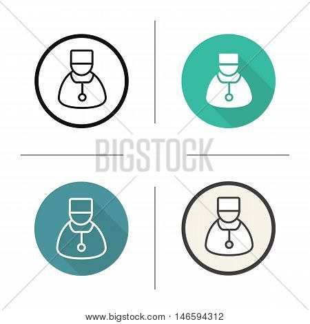 Doctor icon. Flat design, linear and color styles. Therapist. Physician. Isolated vector illustrations