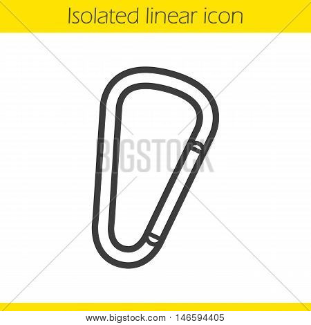 Carabiner linear icon. Thin line illustration. Mountaineering equipment. Spring hook. Karabiner contour symbol. Vector isolated outline drawing