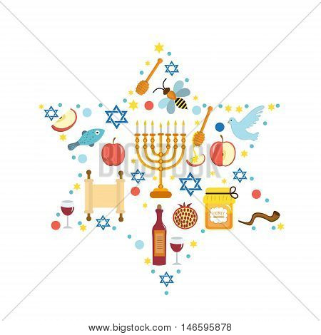Set icons on the Jewish New Year Rosh Hashanah Shana Tova. Rosh Hashanah greeting card. Cartoon icons flat style. Traditional symbols of Jewish culture. Vector illustration.
